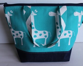 Kids Insulated Lunch Bag, Zipper Top, Nylon Food Safe Lining,  Boys or Girls Lunch Bag, Turquoise Giraffe Fabric Lunch Bag, Ready To Ship