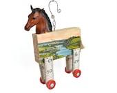horse ornament, mixed media assemblage, handmade original, vintage horse art, Daydreamer,  by Elizabeth Rosen