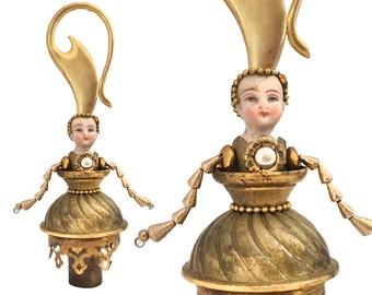 Autumn decoration, Brass Queen,  an original mixed media assemblage art doll ornament  by Elizabeth Rosen