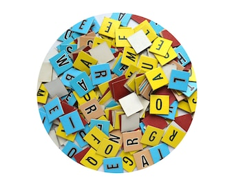 """large lot vintage cardboard letters, 1"""" letters, mixed media supply, scrapbooking supply, vintage game pieces"""