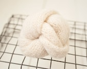 Off White Brushed Alpaca Knit Newborn stretch wisp wrap