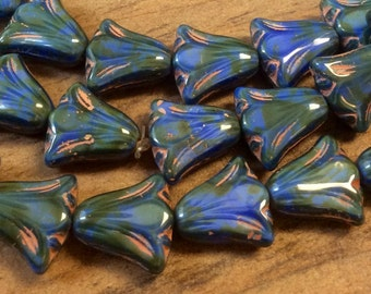 Czech Lily Flower Bead 10mm x 10mm Royal Blue Silk Green Picasso Copper Wash Qty 10