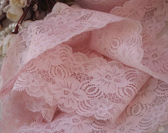 2 yards pink stretch lace with retro flowers, elastic lace trim, hot selling 2016
