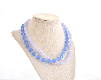 SALE! Glass Beaded Necklace Blue Purple  Double Stranded
