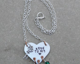 Hand stamped Keys to My Heart necklace Mother's Necklace