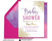 BABY SHOWER INVITATION Pink Purple Ombre Watercolor Gold Baby Sprinkle Invites Brunch & Bubbly Ready Made or Printable Invite- Rosie