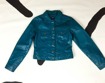 90s Turquoise / Blue Green Leather Jacket / Denim Style / Party Girl / Extra Small / XS / Clueless / Club Kid / Cyber Goth / Kawaii / Grunge