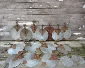 Huge Instant Collection Chimney Dampers Rusted Galvanized Metal Flue Dampers Wood Stove Parts or Crafts Painting Painted Metal Art Supply