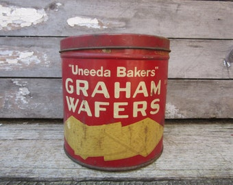 Vintage Uneeda Bakers Graham Wafers Tin National Biscuit Metal Canister Container Red Decor Retro 1930s  Era Storage Organizer Metal Can