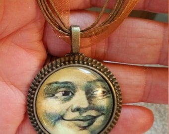 "Vintage Style Copper Smiling Moon-  Necklace  18"" ribbon cabochon"