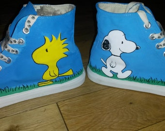 Snoopy and Woodstock Peanuts Inspired Handpainted Converse Style Baseball Shoes
