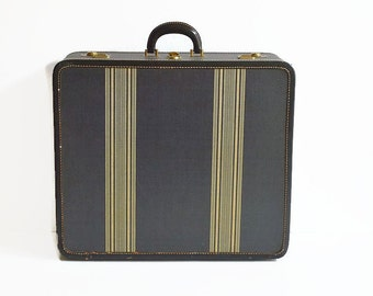 vintage striped suitcase with key 1940s charcoal gray travel Bon Nalda luggage