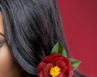 Black Magic Camellia Japonica Hair Clip