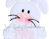 Cute Bunny with Monogram Applique Embroidered Patch , Sew or Iron on