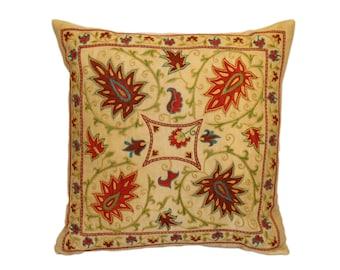 SALE!!! Handmade Suzani Silk Pillow Cover EMP907, Suzani Pillow, Uzbek Suzani, Suzani Throw, Suzani, Decorative pillows, Accent pillows
