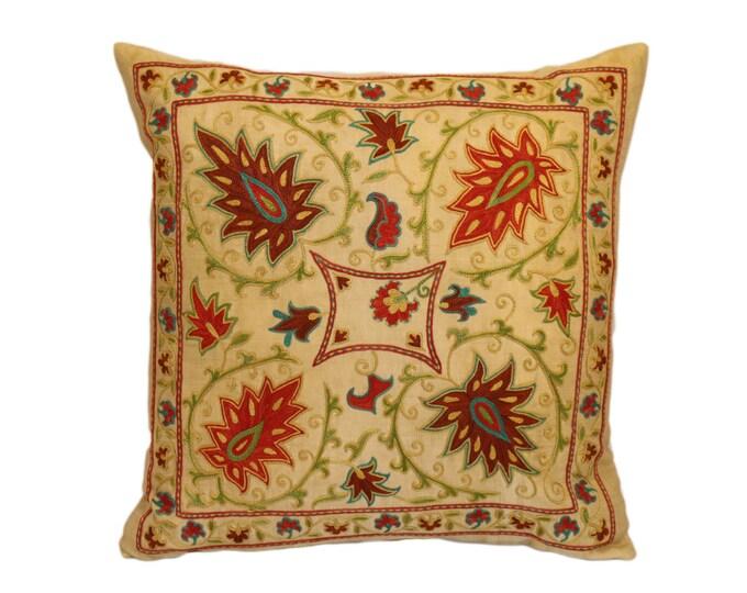 Handmade Suzani Silk Pillow Cover EMP907, Suzani Pillow, Uzbek Suzani, Suzani Throw, Suzani, Decorative pillows, Accent pillows