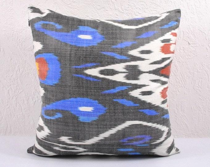 Ikat Pillow, Hand Woven Ikat Pillow Cover A469-1AA2, Ikat throw pillows, Designer pillows, Decorative pillows, Accent pillows