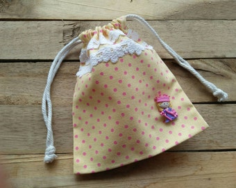Drawstring Bag / Polka Dot Princess Bag