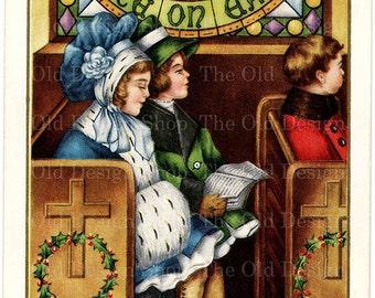 Vintage Christmas Postcard Digital Download JPG Children in Church Peace on Earth