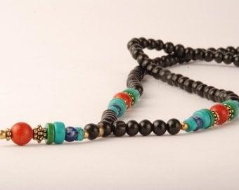 Black Wood Bead Neacklace, Turquoise Mala Necklace, Lapis Lazuli Mala, Coral Mala, Tassel Necklace, Black Long Necklace, Mala necklace