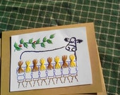Eight Maids a Milking, Hand Stitched Christmas Card