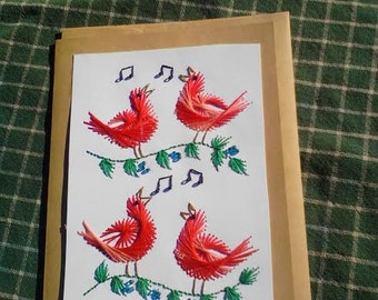 Four Calling Birds, Hand Stitched Christmas Card