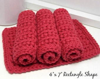 Berry Crochet Dishcloths - Country Red Dishcloths - EcoFriendly Kitchen Cloths - American Cotton: Set of 4