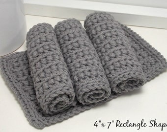 Grey Cotton Dishcloths - Eco Friendly Dishcloths - Gray Crochet Dishcloths - Set of 4