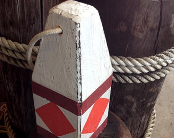 Beach Decor, Old-style lobster float buoy, White, Red diamond, Nautical by SEASTYLE