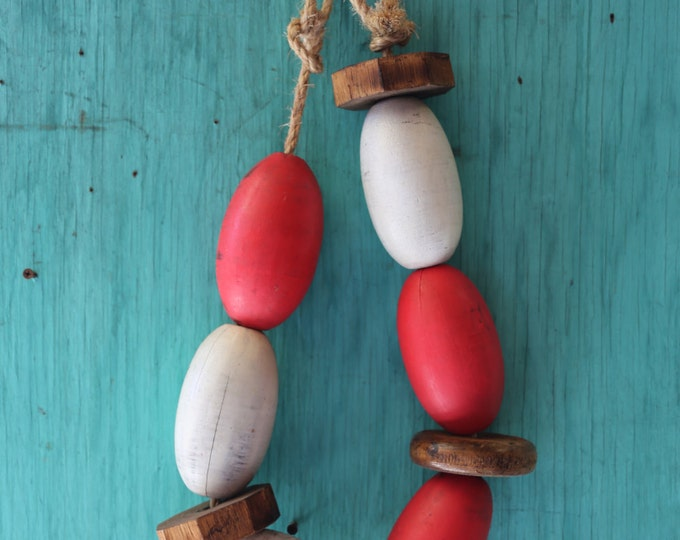 Beach Decor Vintage Red, White, Lobster Buoy Nautical Wooden by SEASTYLE