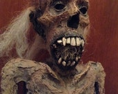 Corpse Sculpture / Mummified Vampire Pygmy Corpse / Hamdmade / Item RESERVED for Brian