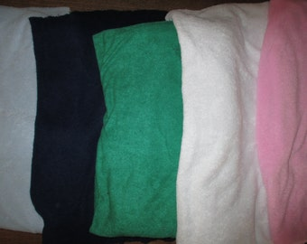 Knit Fabric Vintage Terry Knit 5 Pieces Blue, Green, White, Pink, Baby Blue yardage