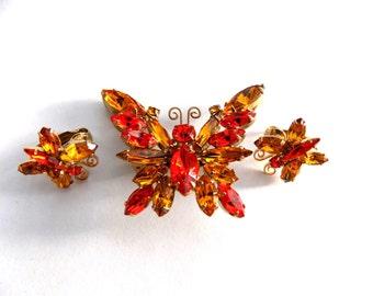 Juliana D&E Butterfly Brooch and Earring Set Orange and Amber Rhinestones Gold Tone Figural Brooch Pin Earrings