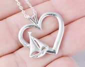 SailBoat Necklace, SailBoat Pendant, Heart Pendant, Boat Necklace, Nautical Jewelry, Sailing Jewelry, SailBoat Charm, Love Sailing