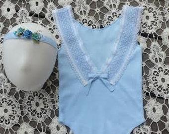 Blue Romper, Newborn Romper, Homemade, Photo Prop, Romper and Headtie