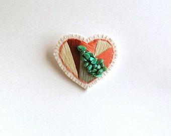 Heart brooch hand embroidered peach, maroon, sage green, with green Howlite gems on cream muslin with cream felt back Teachers gift