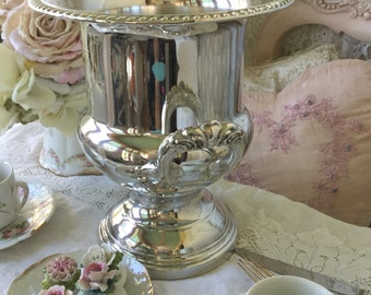Shabby Ice Bucket, Champagne Bucket, Wine Cooler, Chiller, shabby cottage chic, silverplate, wedding, vase, urn, fanny pippin