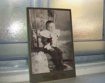 Antique Cabinet Card Photograph Adorable Young Victorian Boy 1800s