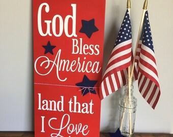 Patriotic Wood Sign- God Bless America Wood Sign