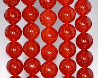 """12mm Carnelian Red Agate Gemstone, Red, Round 12mm Loose Beads 7.5"""" Half Strand (90164763-24)"""