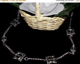 Wire-Wrapped Clear Glass Necklace (N037)
