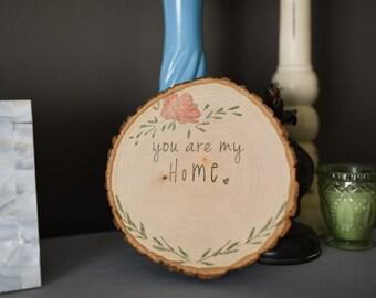 Wood slice home art
