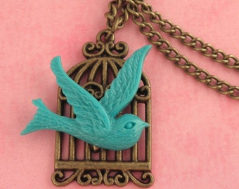Blue Bird & Bronze Cage Charm Necklace - Vintage Inspired - Rockabilly Pinup Jewellery - Retro Swallow Tattoo Necklace