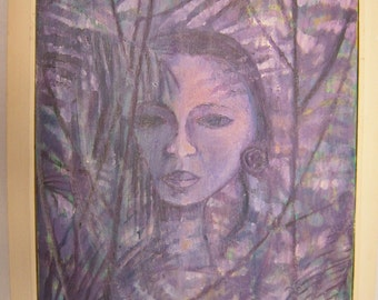 Mid Century Abstract Painting Woman