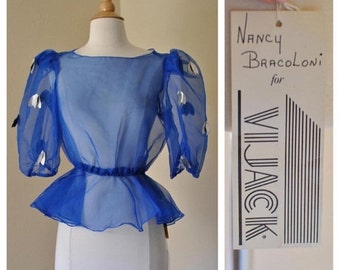 ON SALE Sheer Royal Blue Blouse with Puffed Sleeves Vintage Puff Sleeve Blouse New With Tags Still Attached Size Small Medium by Nancy Braco