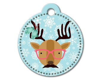 SALE Christmas Holiday Reindeer with Glasses Pet Tag - Dog Tags for Dogs - Custom Dog Tag for Pets, Personalized Cute Dog Tag, Small & Large