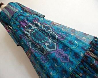 SALE :)))) SWEDEN . Nordic Star . S .  Amazing Print Maxi Dress Silk Chiffon Frilled Hem Scandinavian Rare Collectible