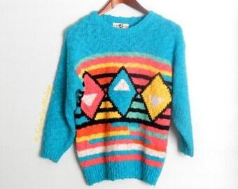 Vintage 80's Turquoise Color Block Geometric Sweater Fuzzy Kawaii