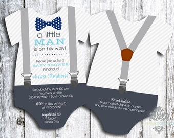 Little Man Baby Shower Invitation | Bow Tie and Suspenders Baby Shower Invite | Printed Die Cut Invitation | Baby Bodysuit