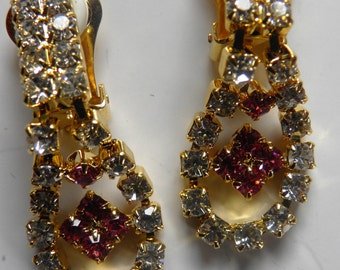 Dainty Rhinestone Drop Earrings, Bride,Pierced.